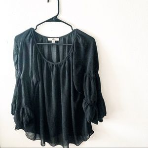 Ya Los Angeles Boho silk blend bell sleeve blouse